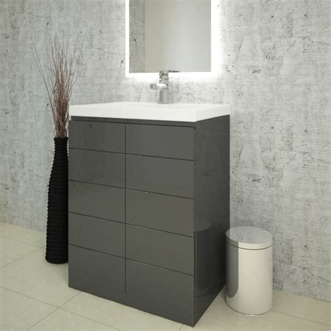 bathroom basin vanity units mercury 60 bathroom vanity unit grey and basin buy
