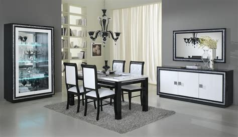 salle 224 manger noir et blanc conforama