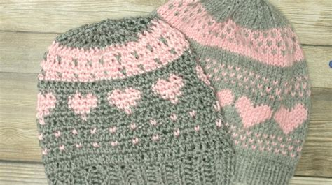 crochet knit stitch crochet fair isle and knit stitch hearts hat