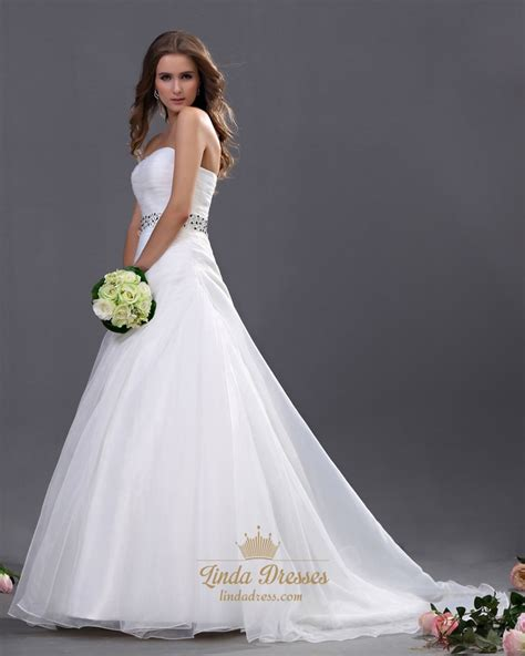 beaded belt wedding dress white sweetheart strapless organza wedding dresses with