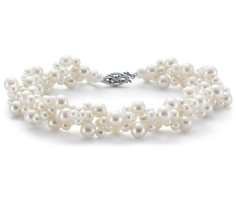 cultured pearl freshwater cultured pearl woven bracelet in 14k white gold