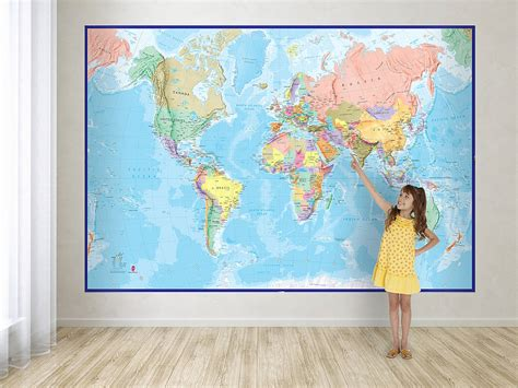 World Wall Map Mural giant world map mural blue ocean by maps international