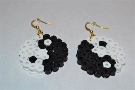 yin yang perler perler bead yin yang earrings