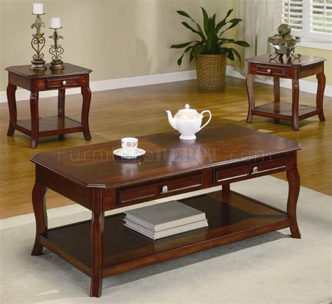 traditional coffee table sets warm brown cherry finish traditional 3pc coffee table set