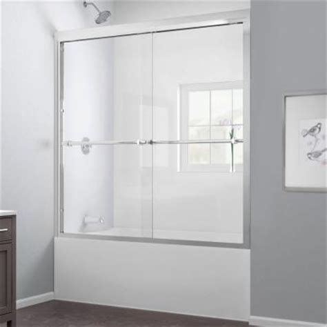 bathtub shower doors home depot dreamline duet 59 in x 58 in frameless bypass tub shower