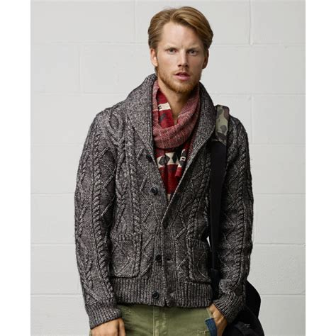 grey shawl neck cable knit cardigan denim supply ralph shawl collar cable knit