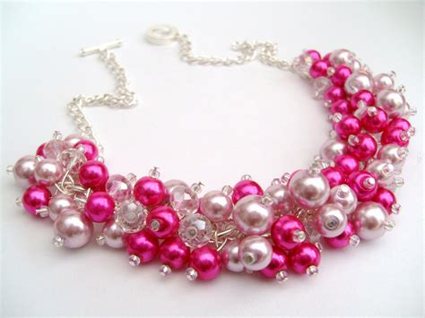 pink beaded necklace pink pearl beaded necklace pink bridesmaid jewelry