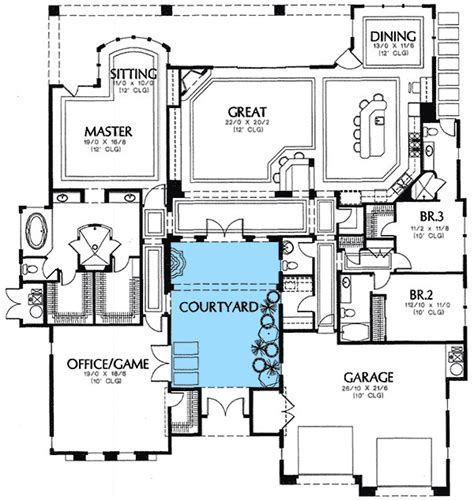 mediterranean house plans with courtyard rear courtyard house plans plan w16359md mediterranean florida european southwest house
