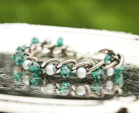 chain and bead bracelet creations by allison beth cooling woven chain
