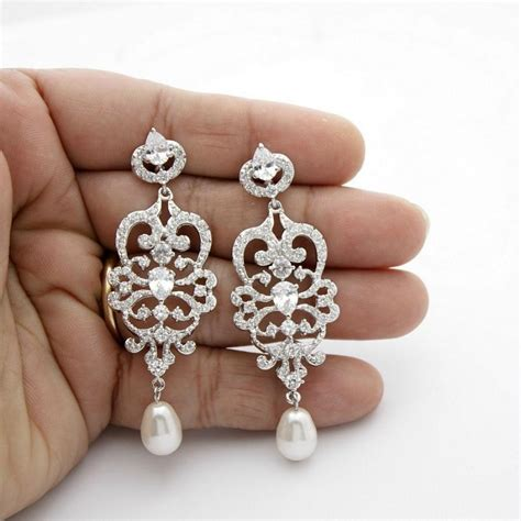 chandelier pearl earrings for wedding bridal chandelier earrings vintage style chandelier