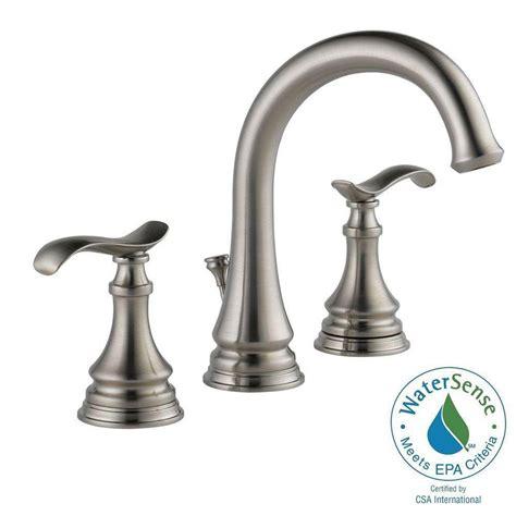 delta brushed nickel kitchen faucet delta kinley 8 in widespread 2 handle bathroom faucet in