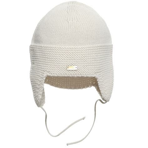 knit hat with ear flaps laranjinha baby beige knitted hat with ear flaps
