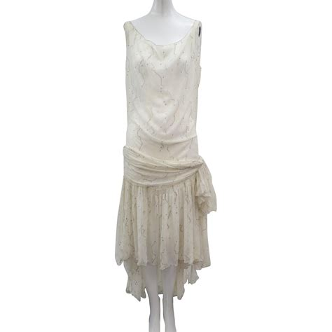 vtg deco 1920s silk chiffon flapper dress gold dots big bow from escapetoelegance on ruby