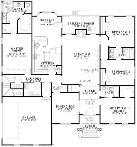 split bedroom floor plans architectural designs
