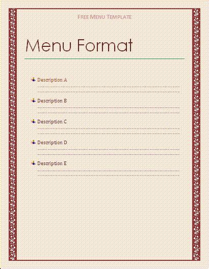 free menu template free microsoft word templates free