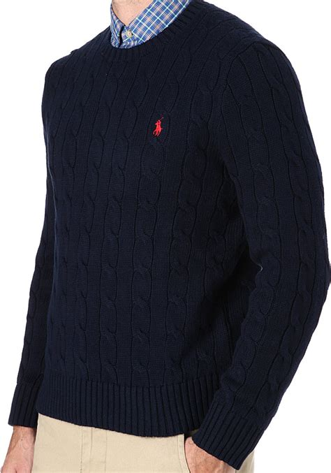 ralph navy cable knit jumper ralph cable knit crewneck jumper in blue for lyst