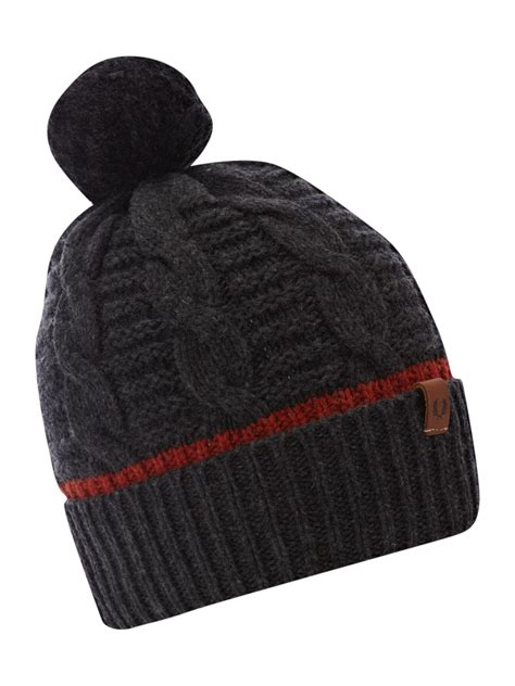 grey knit hat fred perry chunky knit beanie hat in gray for grey