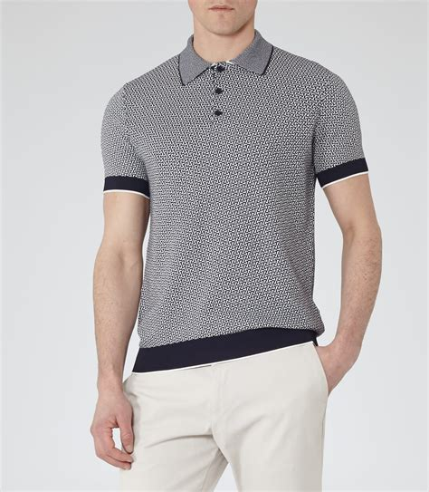 knitted shirts folio navy geometric knitted polo shirt reiss