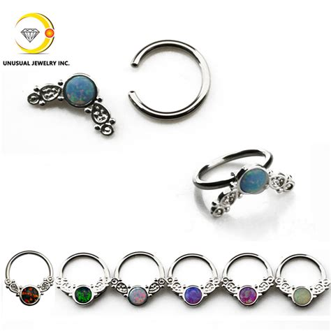 captive bead ring septum leaf style opal nose ring septum clicker earring captive