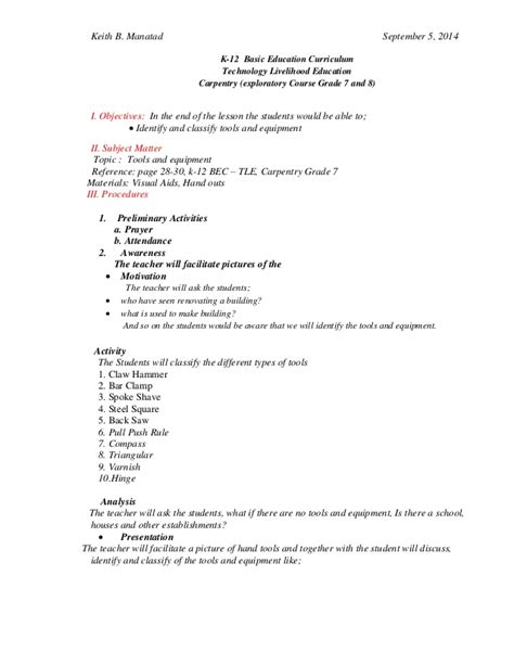 Lesson Plan In Carpentry Tools