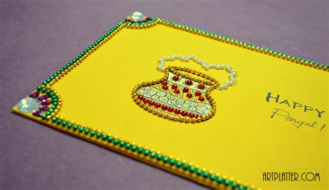 how to make a pongal greeting card floral embellishments card platter