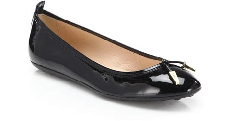 patent leather ballet flats tod s patent leather ballet flats in black lyst