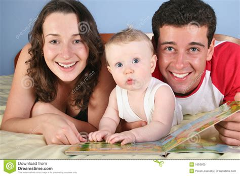 family picture book for baby family with baby read book royalty free stock photo