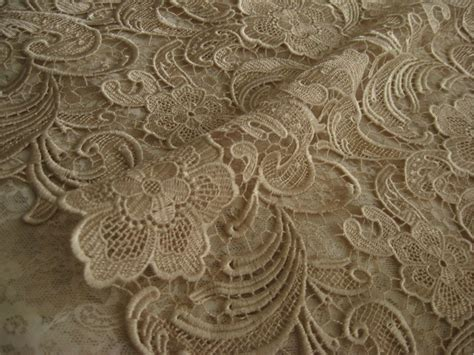 Chic Chagne Lace Fabric Crocheted Lace Fabric Bridal By