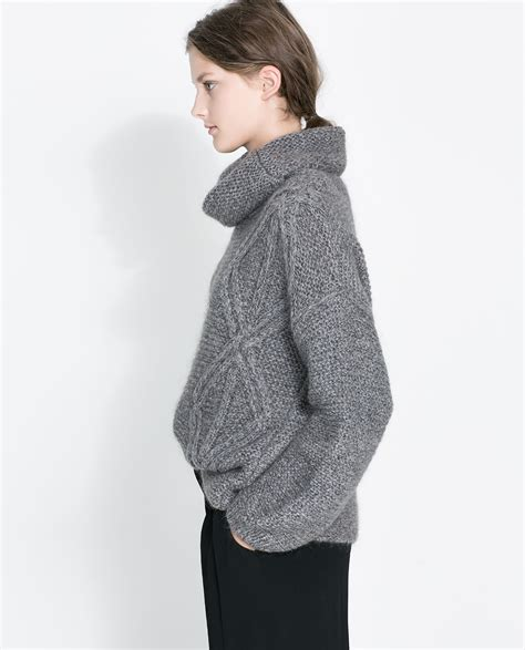 Zara Square Cut Cable Knit Sweater In Gray Lyst