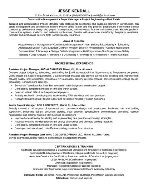 example architectural assistant project manager resume