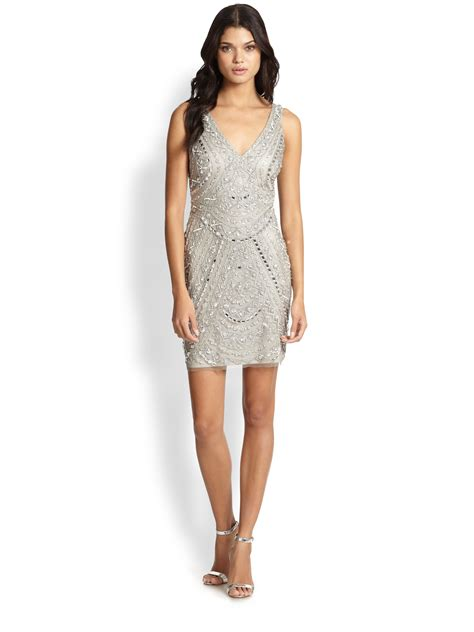 metallic beaded dress aidan mattox beaded dress in metallic lyst