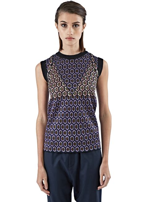 knitted tank top marni s metallic jacquard knitted tank top in purple
