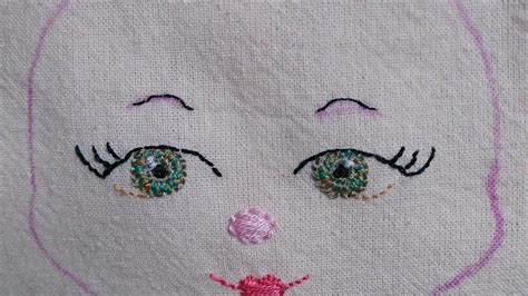 how to embroider on fabric how to embroider a for a fabric doll diy crafts
