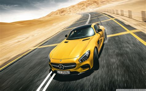 Yellow Car Wallpaper Hd by Yellow Car Mercedes On Road In Desert Hd Wallpaper