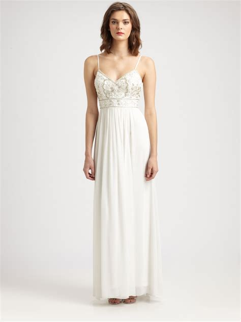 beaded white dress sue wong beaded maxi dress in white lyst