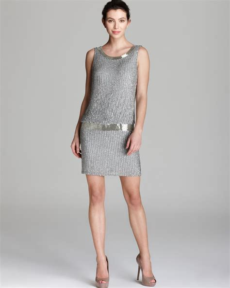 blouson beaded dress papell dress beaded blouson in gray grey lyst