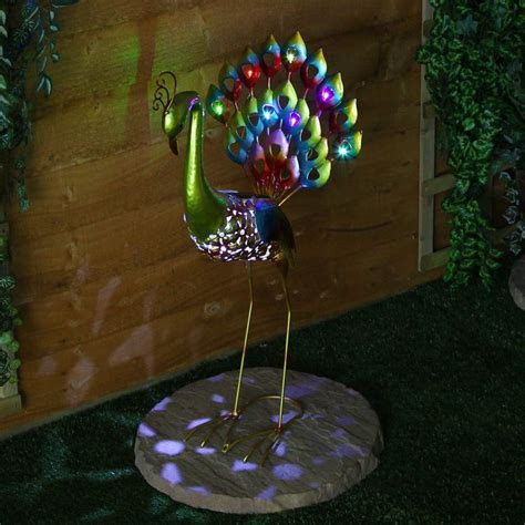 solar powered ornaments large solar powered 8 led peacock figure novelty outdoor