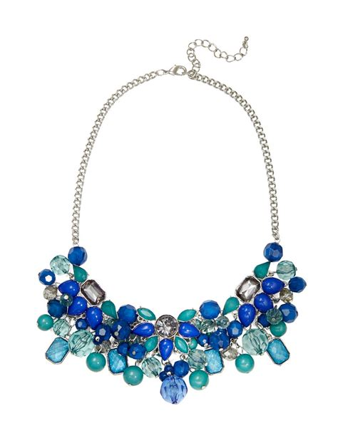 statement beaded necklace catherine stein beaded statement necklace in teal lyst