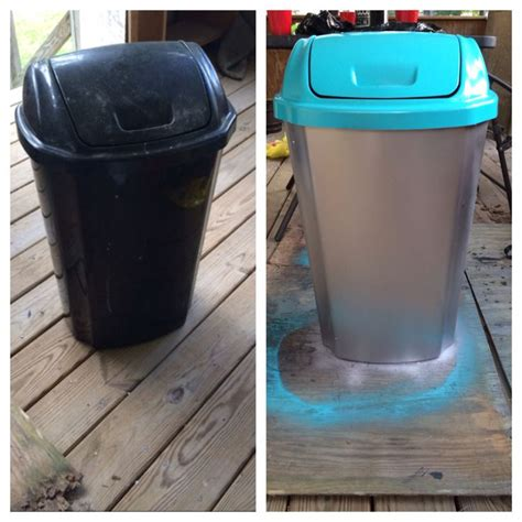 spray paint on trash can plastic trash can make cheap and easy