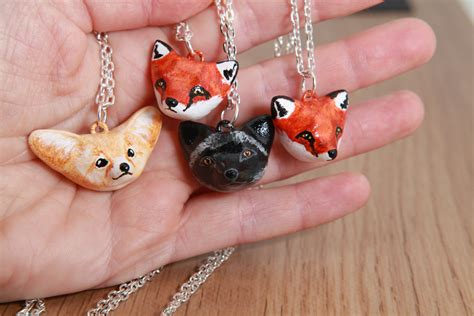 Fox Necklaces Polymer Clay Acrylic Paint By