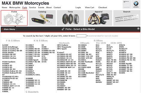 Max Bmw Parts Fiche motorcycle parts fiche