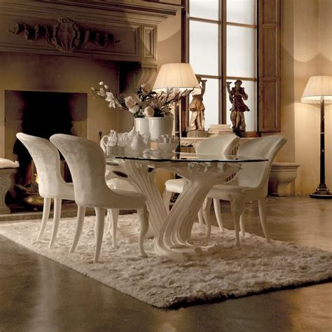 italian dining table exclusive italian pedestal large glass dining table set