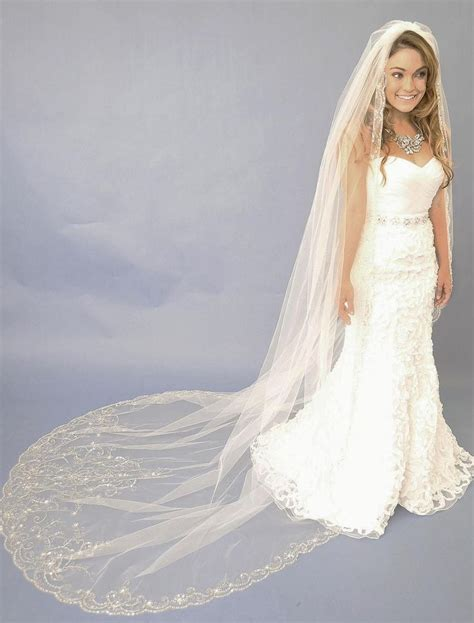 beaded cathedral veil beaded cathedral wedding veil designs e1122l