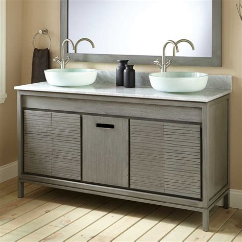 gray bathroom vanities 60 quot becker teak vessel sink vanity gray wash vessel