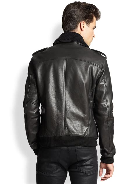 leather and shearling jacket blk dnm leather shearling pilot jacket in black for lyst