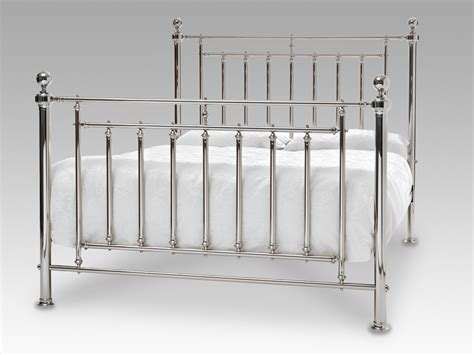 metal bed frame king serene solomon king size nickel metal bed frame