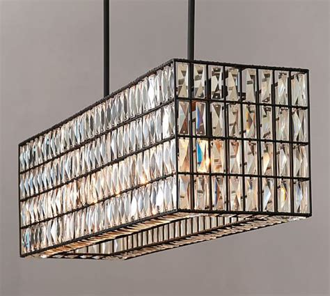 rectangular dining room chandelier adeline rectangular chandelier pottery barn