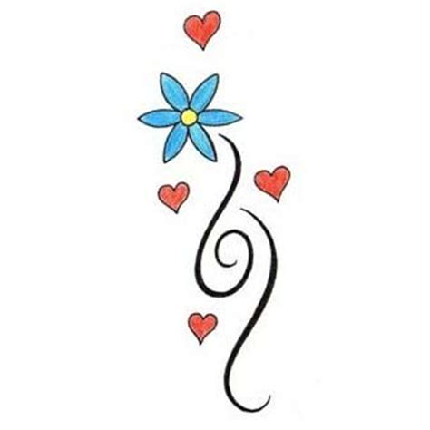 simple designs simple flower with hearts design tattoowoo