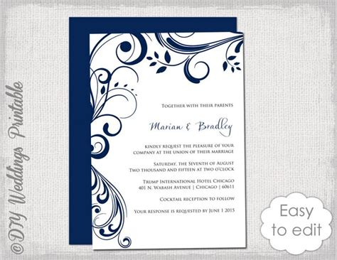 navy wedding invitation template quot scroll quot printable