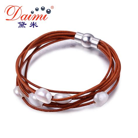 Daimi 9 10mm White Baroque Pearl Bracelet 7 Layers
